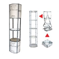 Popup Twisted Tower, Portable Exhibition Rack Tower